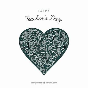 Coeur du tableau pour le jour de l'enseignant