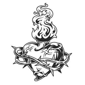 Coeur enflammé dans du fil de fer barbelé