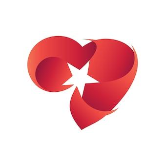 Coeur avec étoile logo vecteur