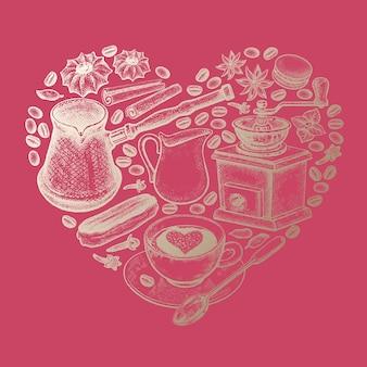 Coeur fait d'appareils pour faire des épices de café et des grains de café