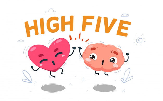 Le cœur fait un high five avec le cerveau. illustration isolée