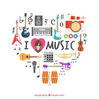 Coeur fait d'icônes musicales