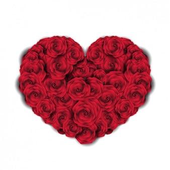 Coeur fait avec des roses