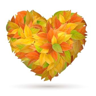 Coeur de feuilles d'automne colorés.