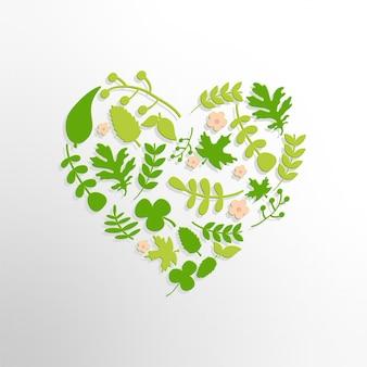 Coeur avec des feuilles et des fleurs