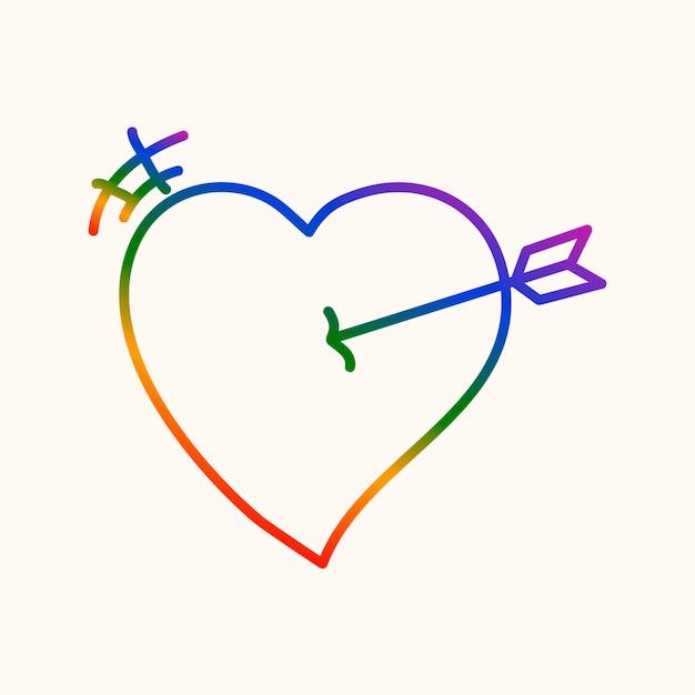 Coeur de fierté, vecteur d'icône de conception de doodle arc-en-ciel