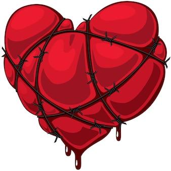 Coeur avec fil de fer barbelé.