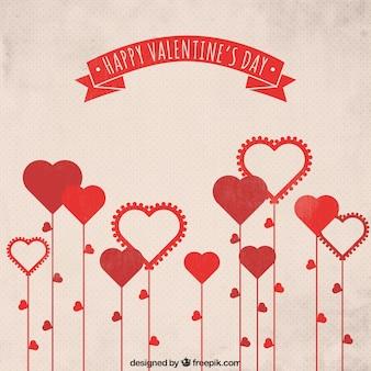 Coeur fleurs en forme de carte de voeux
