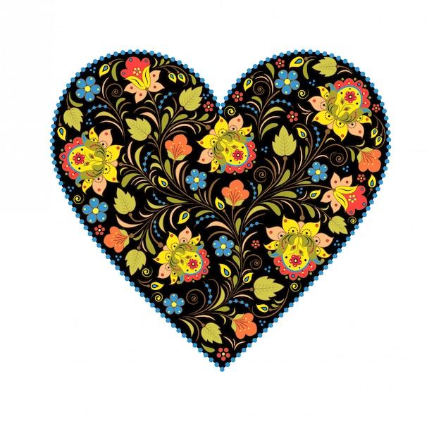 Coeur floral khokhloma avec un design russe traditionnel.
