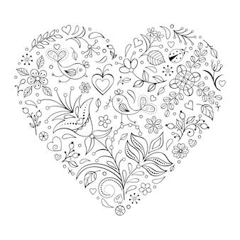 Coeur floral saint-valentin isolé sur fond blanc