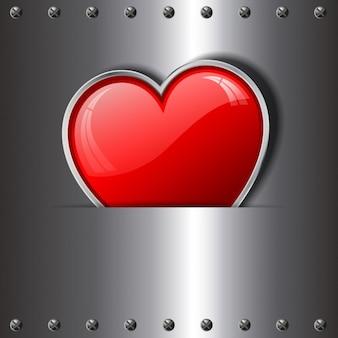 Coeur sur un fond métallique