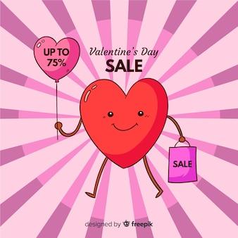Coeur avec fond de vente ballon saint-valentin