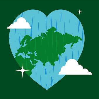 Coeur en forme de globe du monde