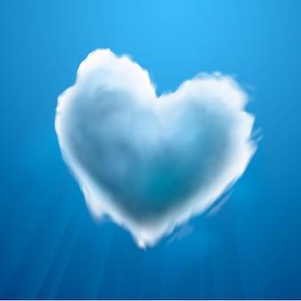 Coeur en forme de nuage sur un ciel