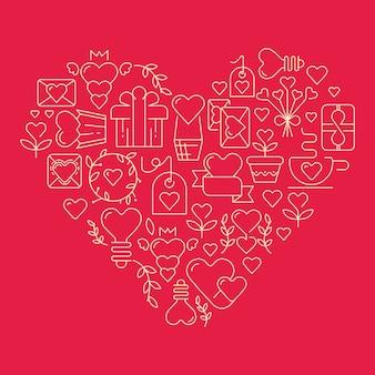 Coeur gigantesque avec de nombreux éléments symbolisant l'illustration vectorielle de la saint-valentin