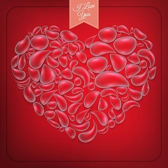 Coeur de gouttes d'eau sur fond rouge