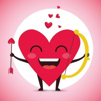 Cœur heureux masculin avec une flèche et un arc dans la saint valentin