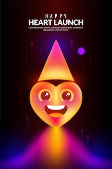 Coeur heureux se lançant dans l'espace dans un style de lumière fantastique