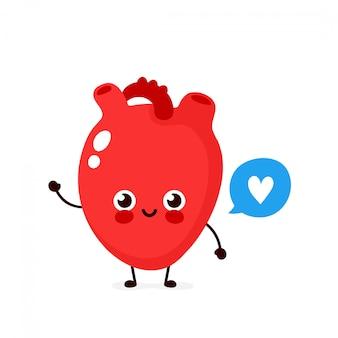 Coeur humain heureux mignon en bonne santé