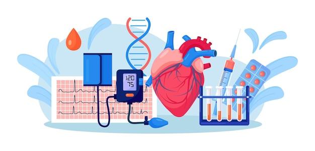 Coeur humain avec sphygmomanomètre, cardiogramme ecg, tube à essai sanguin, médicaments. examen médical, mesure de l'hypertension artérielle. diagnostic des maladies cardiovasculaires. hypertension, hypotension