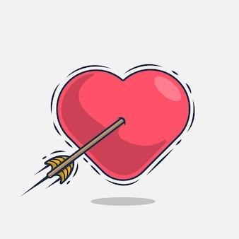 Coeur avec illustration d'icône flèche