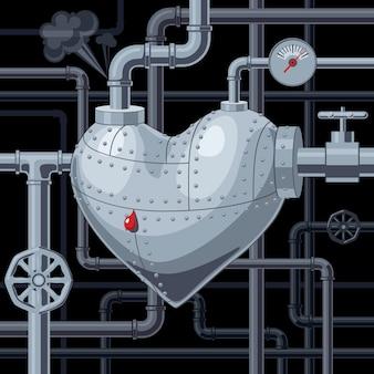 Coeur avec illustration de tuyaux