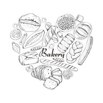 Le coeur isolé des produits de boulangerie