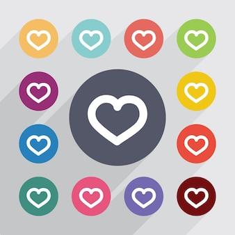 Coeur, jeu d'icônes plat. boutons colorés ronds. vecteur