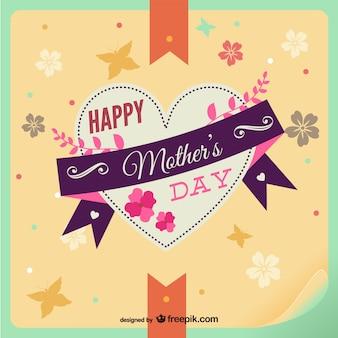 Coeur de jour de carte floral de mère heureux