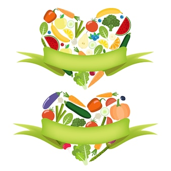 Coeur de légumes avec étiquette. ferme biologique éléments de mode de vie sain. légumes colorés sains. plat.