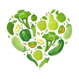 Coeur avec des légumes verts et des fruits