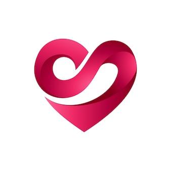 Coeur lettre s logo initial