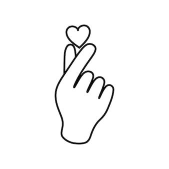 Coeur de main de symbole coréen, un message de geste de main d'amour.