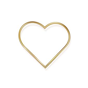 Coeur en métal romantique doré au design minimaliste. illustration.