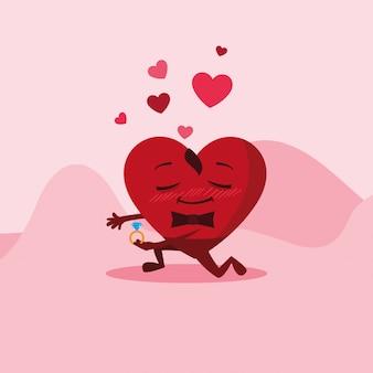 Coeur mignon avec caractère de bague de fiançailles
