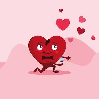 Coeur mignon avec caractère de coupe de vin