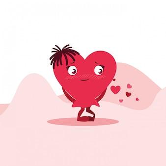 Coeur mignon femme dans le personnage du désert