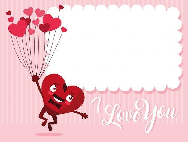 Coeur mignon mâle avec personnage de ballons à l'hélium