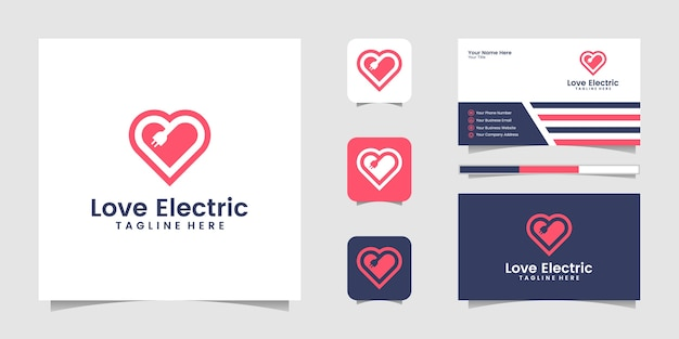 Coeur moderne créatif amour avec logo de signe de chargeur électrique design décoratif et carte de visite