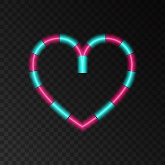Coeur néon en forme d'effet de lumière d'amour de sucette pour la carte de voeux de bannière de happy valentines day