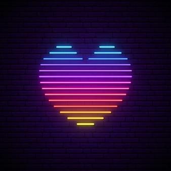 Coeur néon vecteur lumineux.