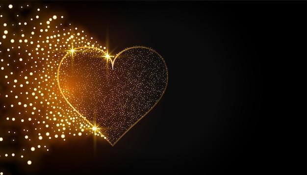 Coeur d'or étincelant sur fond noir