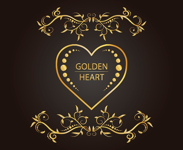 Coeur d'or avec ornement floral vintage