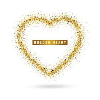 Coeur d'or de vecteur sur transparent