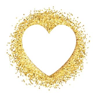 Coeur en papier blanc sur paillettes dorées.