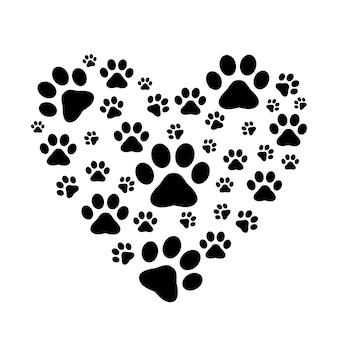 Coeur avec patte. traces de chiens ou de chats. silhouette isolée de vecteur.
