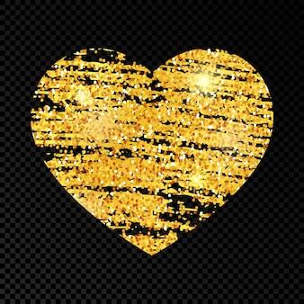 Coeur avec peinture gribouillis scintillant doré sur fond transparent foncé. fond avec des étincelles d'or et un effet scintillant. espace vide pour votre texte. illustration vectorielle