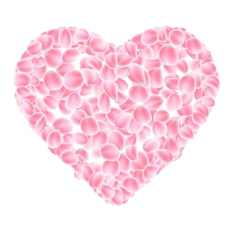 Coeur de pétales roses.