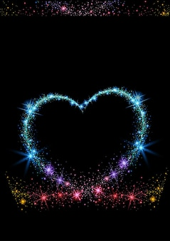 Coeur pétillant coloré sur fond noir