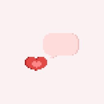 Coeur de pixel avec bulle de dialogue.valentine.8bit.